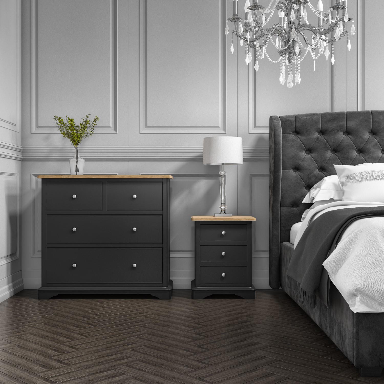 Darley Dark Grey Double Wardrobe In Solid Oak With Drawer Buyitdirect Ie