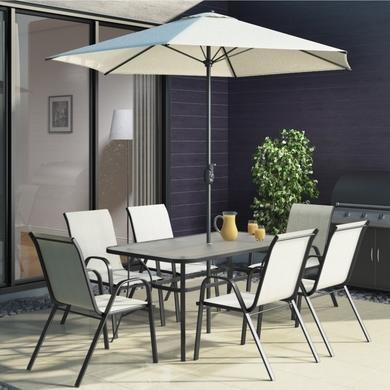 cream garden table chairs patio set with 6 chairs parasol