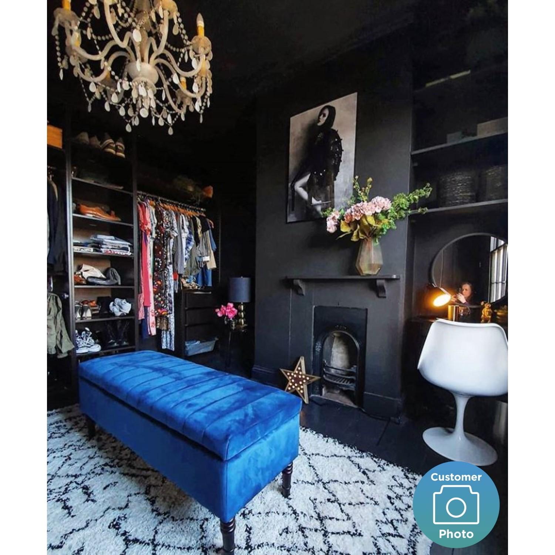 safina striped top ottoman storage bench in navy blue velvet