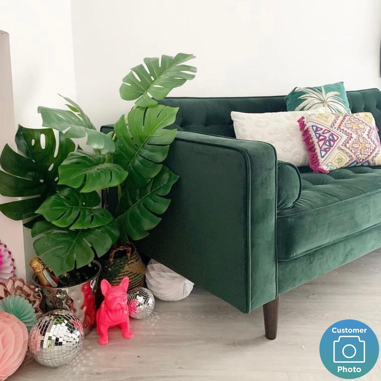 elba green velvet sofa with button detailing bolster cushions seats 2