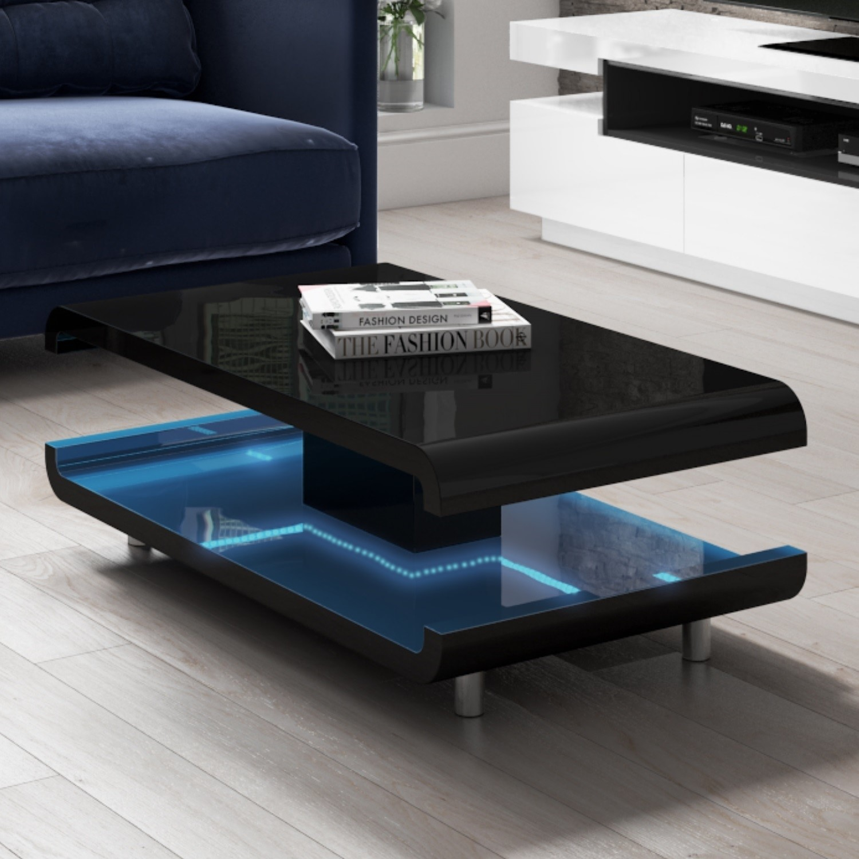 high gloss black coffee table with led lighting tiffany range