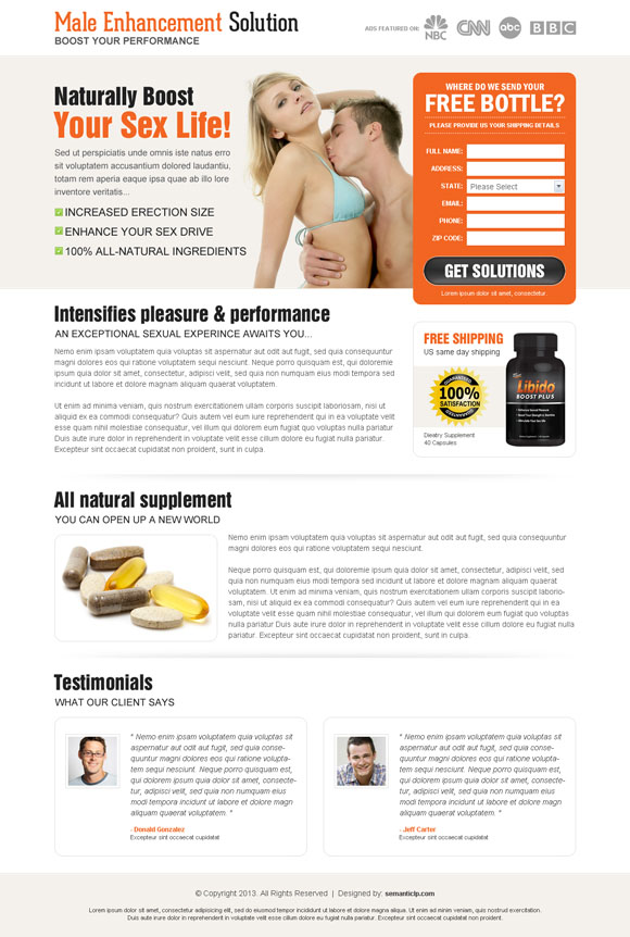 Nice an clean effective male enhancement landing page design on affordable price to promote and sale male enhancement product online.
