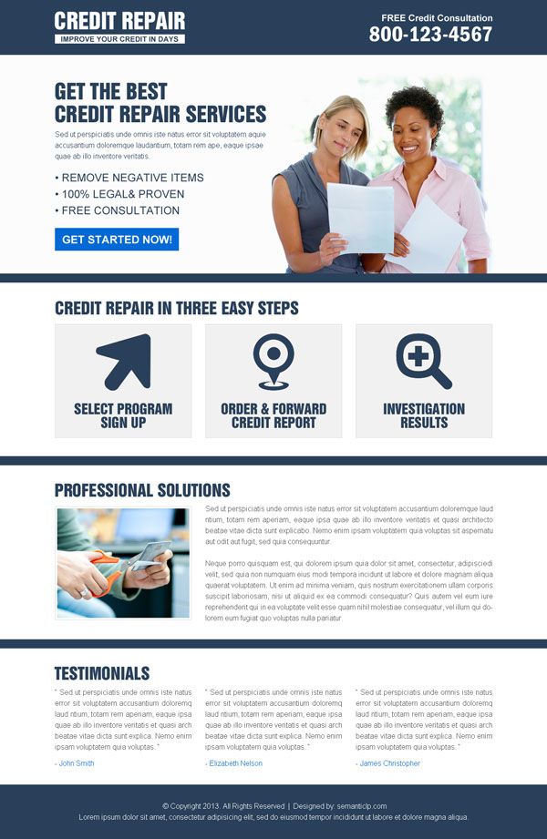 converting credit repair landing page design