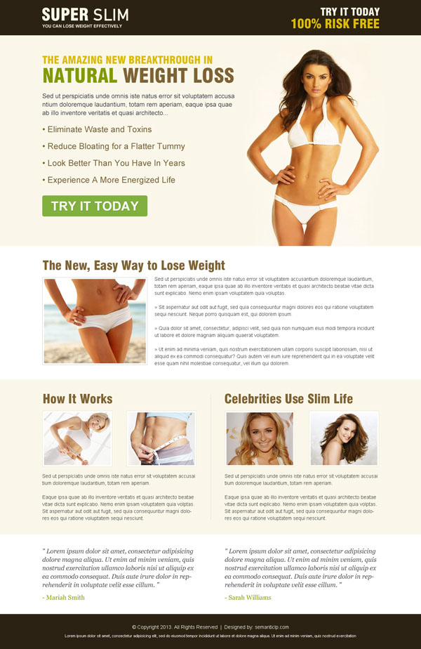 Effective and converting weight loss product review landing page design from http://www.semanticlp.com/category/weight-loss/