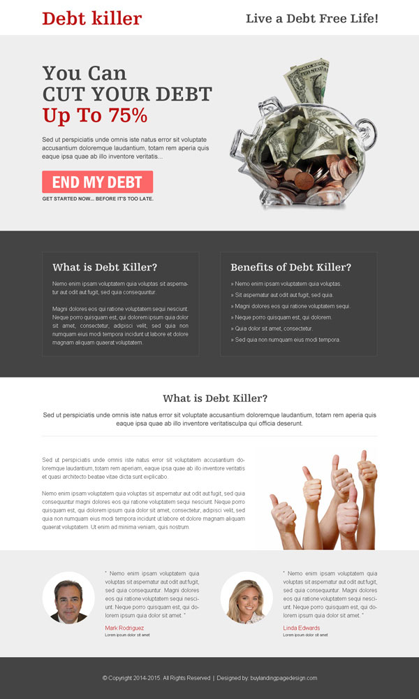debt service landing page design templates from http://www.semanticlp.com/category/debt/