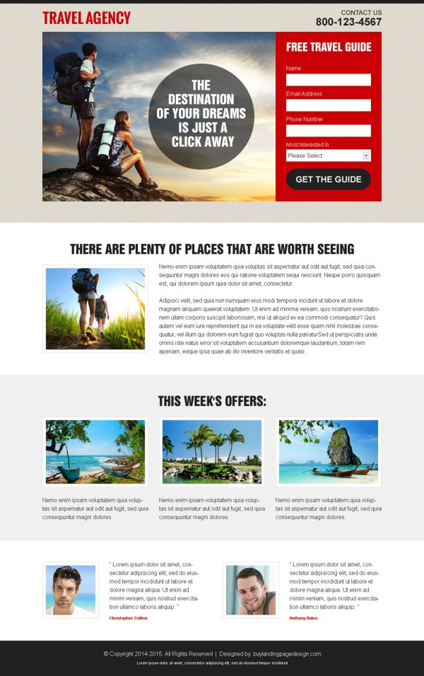 Stunning landing pages to promote your travel agency business