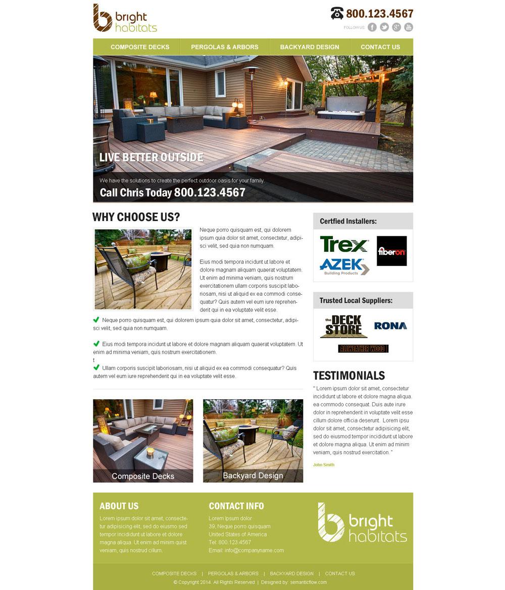 Backyard renovation company Website Design portfolio ... on Backyard Renovation Companies id=65894