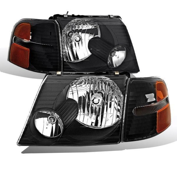 Country Coach Affinity Diamond Clear Black Headlights & Corner Turn Signal Lamps Unit 4 Piece Set