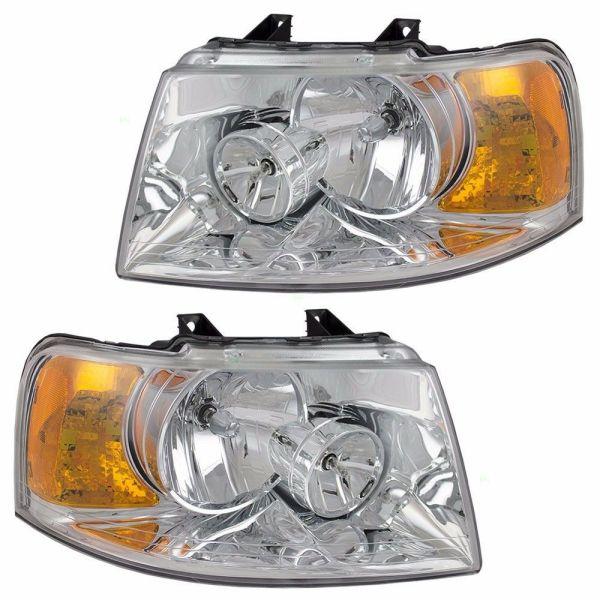 Fleetwood Bounder Headlight Head Lamp Assembly Pair (Left & Right)