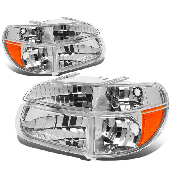 Country Coach Intrigue Ovation Diamond Clear Chrome Headlights & Signal Lamps 4 Piece Set (Left & Right)