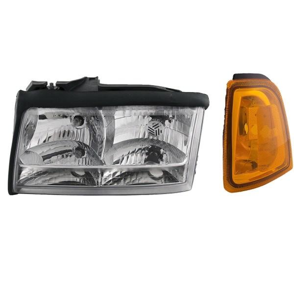 Fleetwood Bounder (GAS) Replacement Left (Driver) Headlight & Corner Turn Signal Lamp 2 Piece Set