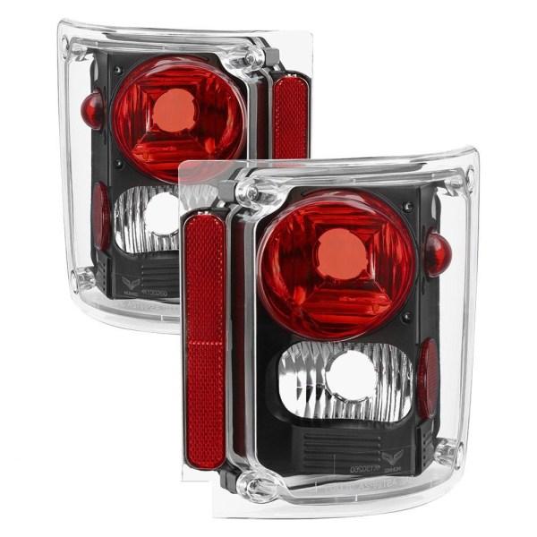National RV Surf Side Performance Black Tail Light Lens & Housing Pair (Left & Right)