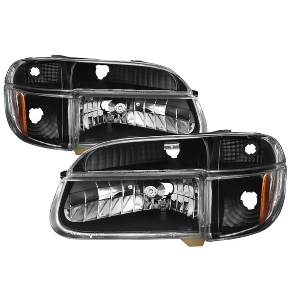 Airstream Land Yacht Diamond Clear Black Headlights & Signal Lamps 4 Piece Set (Left & Right)