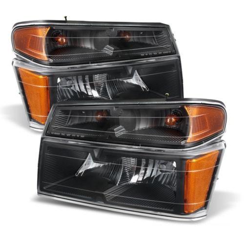 National RV Sea Breeze Black Headlights & Signal Lights Assembly 4 Piece Set (Left & Right)