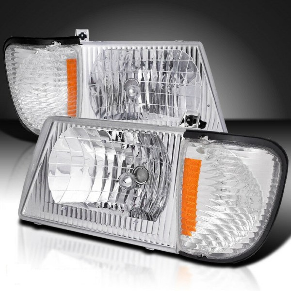 Winnebago Chalet (Class C) Diamond Clear Chrome Headlights & Corner Turn Signal Lamps Set (4 Piece Set)