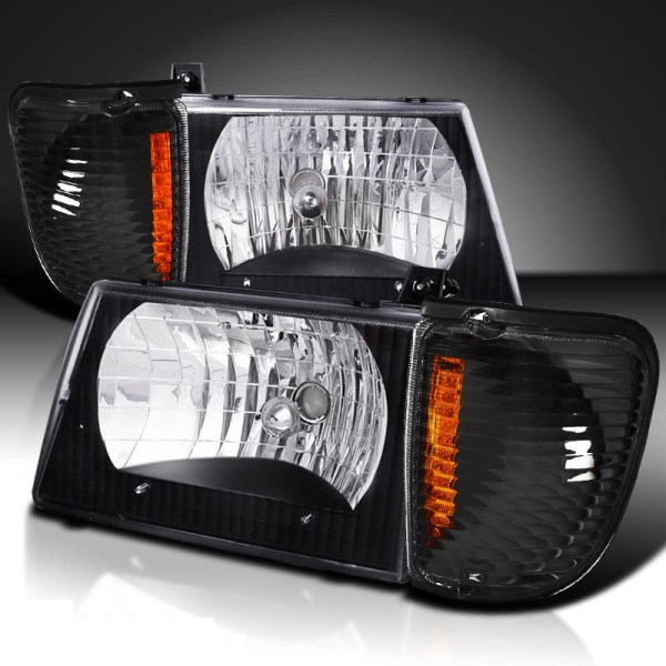 Fleetwood Jamboree (Class C) Diamond Clear Black Headlights & Corner Turn Signal Lamps Set (4 Piece Set)