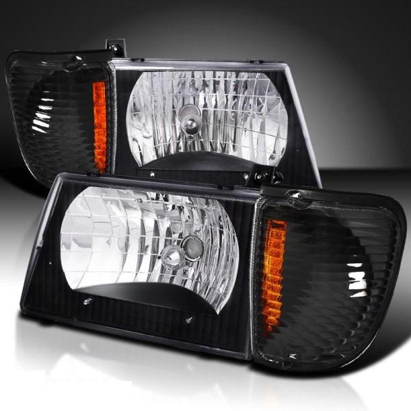 Forest River Reflection Diamond Clear Black Headlights & Corner Turn Signal Lamps Set (4 Piece Set)