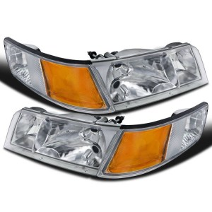 Newmar Mountain Aire (37ft) Replacement Headlight Assembly & Corner Turn Signal Light 4 Piece Set (Left & Right)
