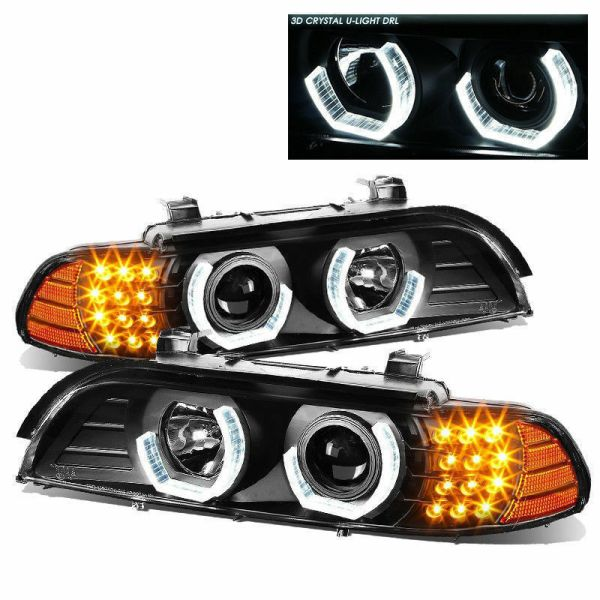 Country Coach Magna Black Headlight Assembly Pair with LED (Left & Right)