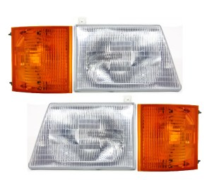 Holiday Rambler Admiral Replacement Headlights & Signal Lamps 4 Piece Set (Left & Right)