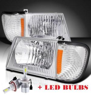 Damon Ultrasport (Class C) Diamond Clear Chrome Headlights & Corner Turn Signal Lamps Set 4PC + Low Beam LED Bulbs