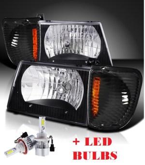 Holiday Rambler Scepter Black Headlights & Corner Turn Signal Lamps Set 4PC + Low Beam LED Bulbs