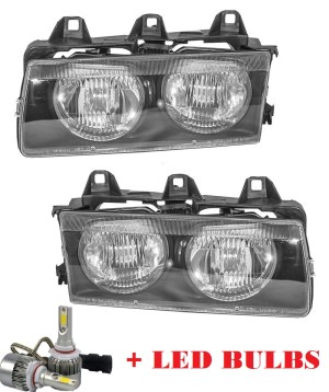HEADLIGHTSDEPOT Left and Right Black Housing Headlight Compatible With 2001 Fleetwood American Tradition Motorhome RV