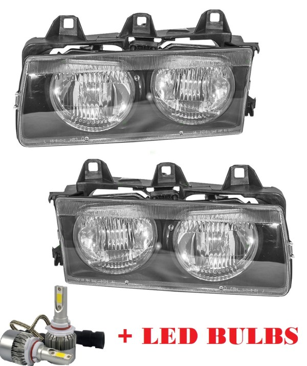 Fleetwood American Tradition Headlight Assembly Pair + Low Beam LED Bulbs (Left & Right)