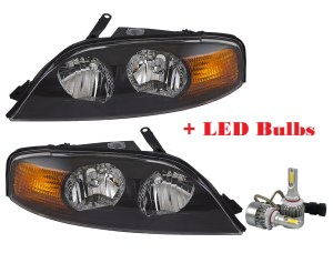 Georgie Boy Cruise Master Replacement Headlight Assembly Pair + Low Beam LED Bulbs(Left & Right)