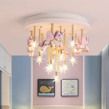 36w blue pink merry go round star ceiling lights for children s room princess girl boy s bedroom ceiling lamps
