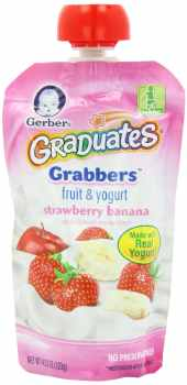 Gerber Graduates Grabbers, Fruit and Yogurt Strawberry Banana, 4.23 Ounce