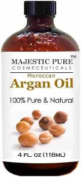 Moroccan Argan Oil for Hair and Face From Majestic Pure, 100% Natural, Organic, Cold Pressed & Triple Extra Virgin Grade 1 Argan Oil