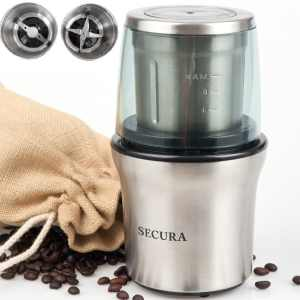 Secura Electric Coffee Grinder & Spice Grinder with 2 Stainless-Steel Blades Removable Bowl