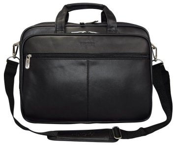 "Kenneth Cole Reaction ""The I Rest My Case"" Leather Top Zipper Laptop Computer Briefcase Business Bag - Black"