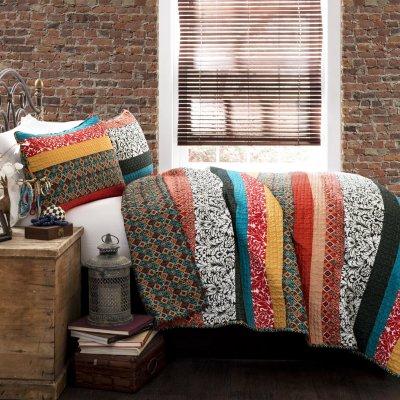 Lush Decor Boho Stripe 3-Piece Quilt Set