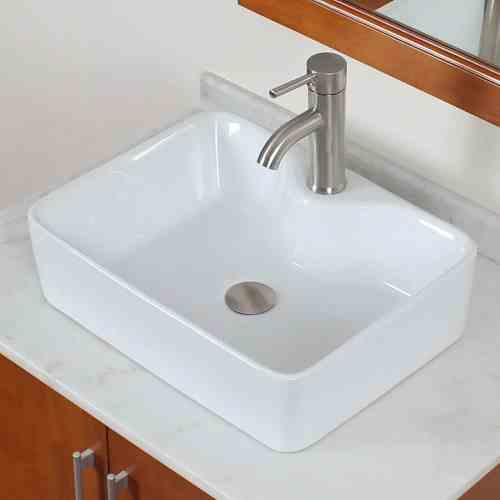 ELITE Bathroom Rectangle White Porcelain Ceramic Vessel Sink