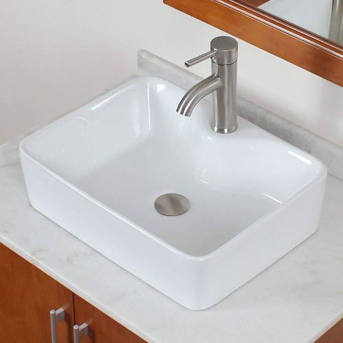 ELITE Bathroom Rectangle White Porcelain Ceramic Vessel Sink