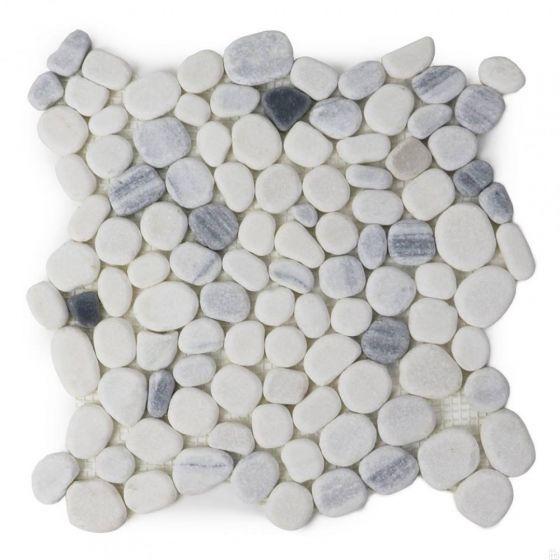 chinese zebra white 12x12 honed flat pebble mosaic