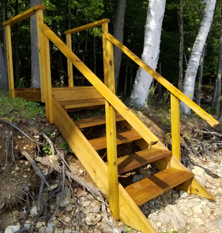 Photo of Golden Pine deck stain by Ready Seal on Pressure Treated Pine wood, Outdoor Stairs