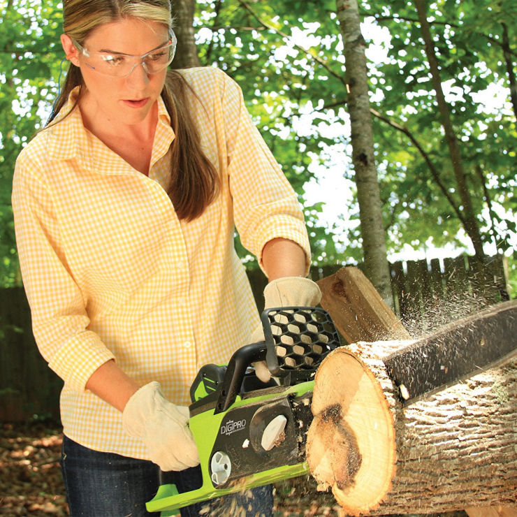Battery operated chainsaws for woman, cordless chainsaws for woman image