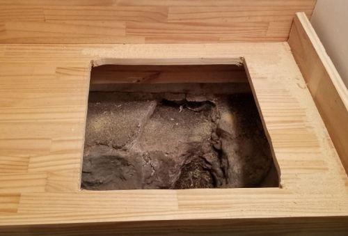 Rough cut hole for wetbar sink installation