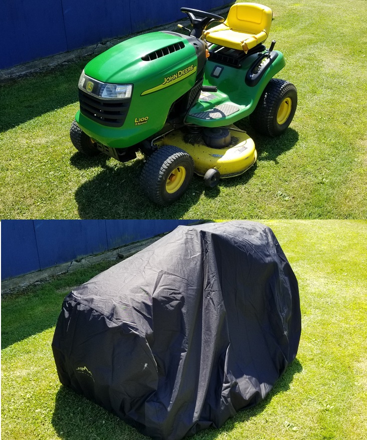 Outdoor lawnmower cover on John Deere Tractor