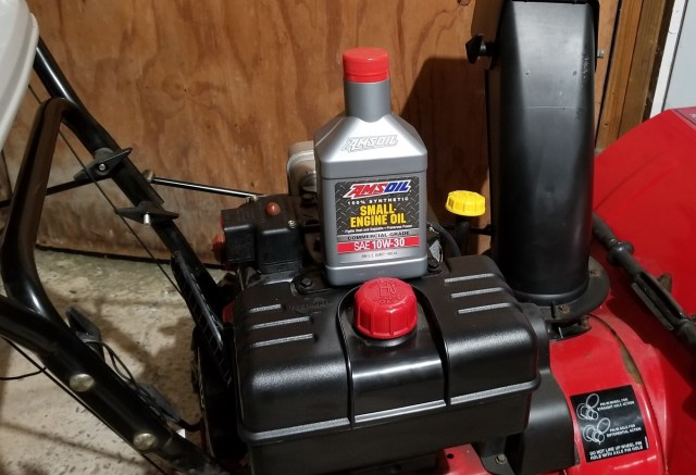 Amsoil 10W-30 Fully Synthetic Oil in a Snowblower
