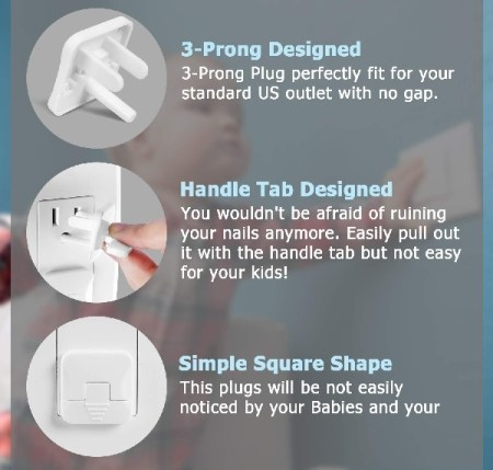 Easy to Remove Plastic Outlet Covers with handle features