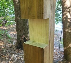 Mortise Cutout in wood post Kayak Rack build