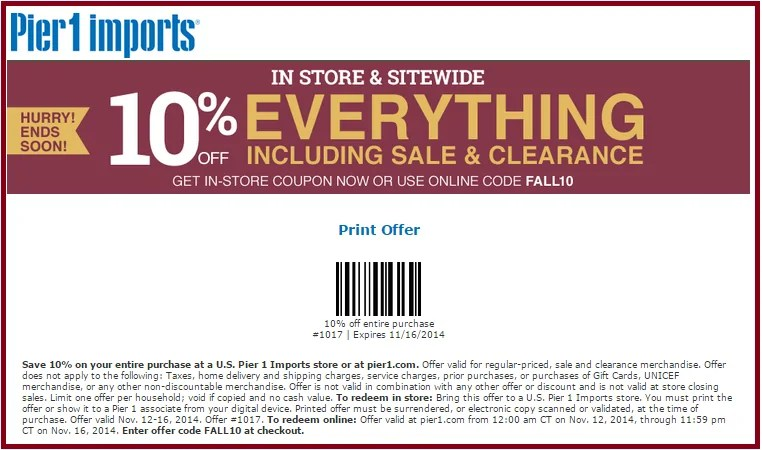 Pier 1 Imports Coupons Promotions Specials For November 2018