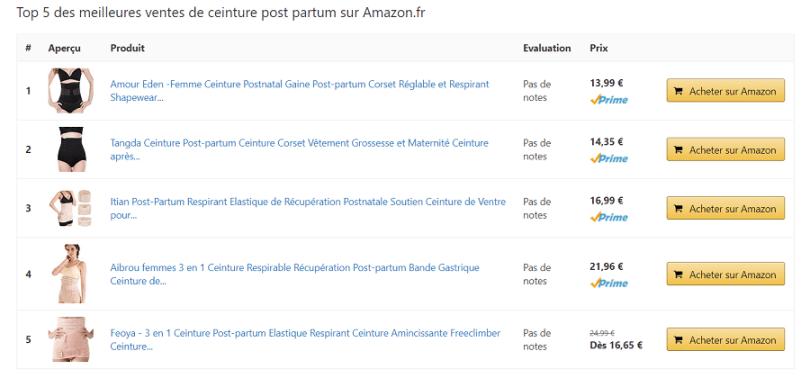 plugin aawp tableau comparatif des meilleurs produits sur Amazon