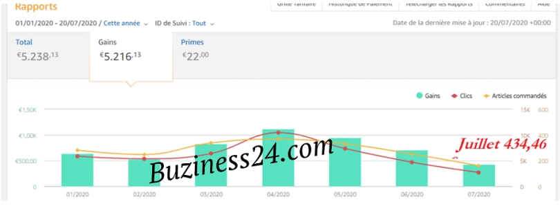 mon bilan revenus affiliation Amazon 2020 Amazon partenaire