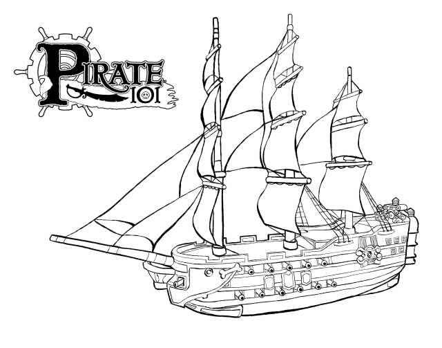 dessin à colorier bateau pirate capitaine crochet