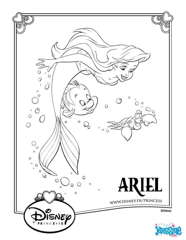 coloriage à dessiner princesse disney la petite sirene